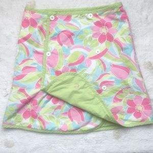 Flamingos! Lily Pulitzer 2-sided Skirt Pink swirls